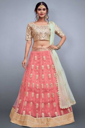 Pink Color Embroidery Lehenga Choli In Soft Net