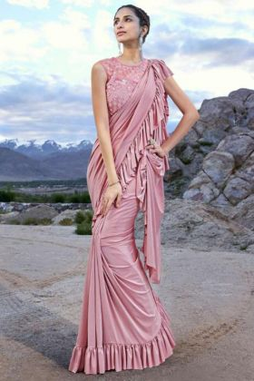 Pink Color Embroidery Work Imported Fabric Designer Ruffle Saree