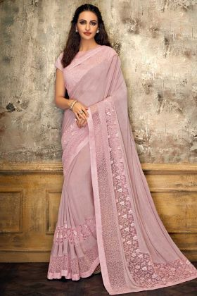 Pink Color Fancy Lycra Saree With Raw Silk Blouse