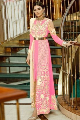 Pink Color Faux Georgette Heavy Embroidery Salwar Suit