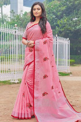 Pink Color Festive Saree With Linen Cotton Fabric