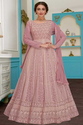Pink Color Georgette Anarkali Salwar Suit With Embroidery Work
