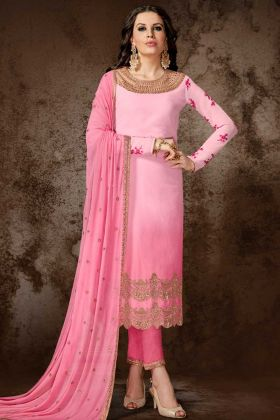 Pink Color Georgette Pant Style Salwar Suit With Embroidery Work