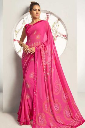 Pink Color Georgette Printed Saree With Blouse