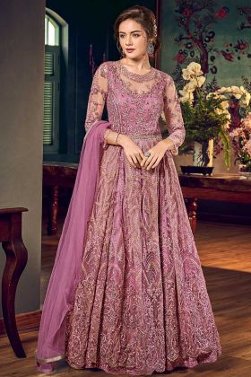 Pink Color Gown Style Net Anarkali Suit