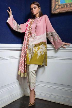 Pink Color Heavy Cotton Pakistani Suit With Embroidery Work
