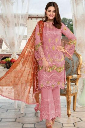 Pink Color Heavy Net Pakistani Suit With Embroidery Work