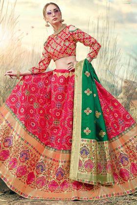 Pink Color Jacquard Work Banarasi Silk Jacquard Lehenga Choli