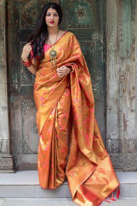 Pink Color Kanjivaram Silk Golden Color Wedding Saree