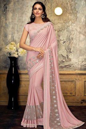 Pink Color Lycra And Fancy Net Designer Saree