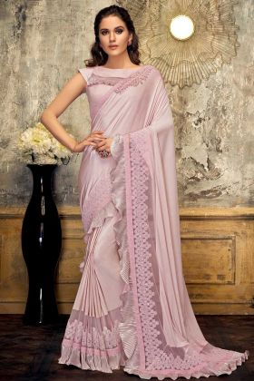 Pink Color Lycra Designer Ruffel Saree For Party