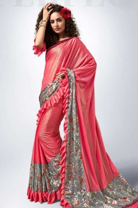 Pink Color Lycra Ruffle Saree With Fancy Lace Border Work