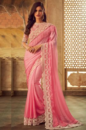 Pink Color Masaba Silk Designer Saree With Embroidery Work