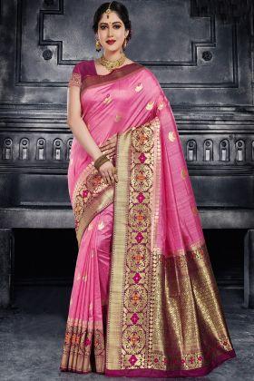 Pink Color Monga Traditional Silk Saree