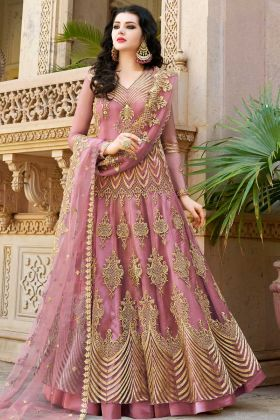 Pink Color Net Indo Western Salwar Kameez Pink Color With Stone Work