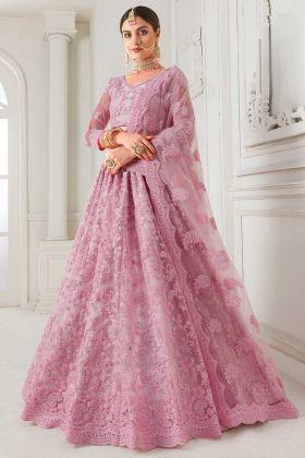 Pink Color Net Lehenga Choli With Cording Embroidery Work