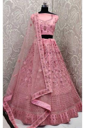 Pink Color Net Lehenga Choli With Stone Work