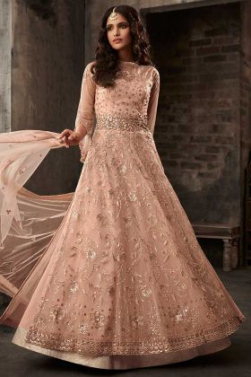 Pink Color Net Wedding Salwar Suit With Embroidery Work