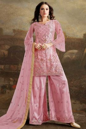 Pink Color Net Palazzo Salwar Suit With Resham Embroidery Work
