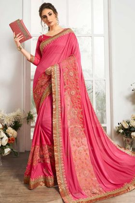 Pink Color Net Party Wear Saree With Work