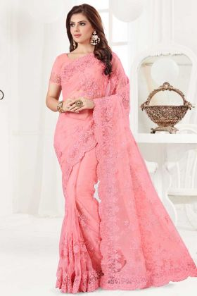 Pink Color Net Wedding Saree With Stone Work