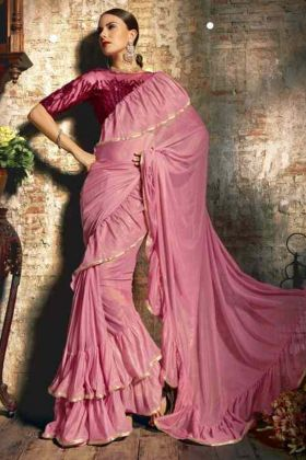 Pink Color Party Wear Ruffel Saree