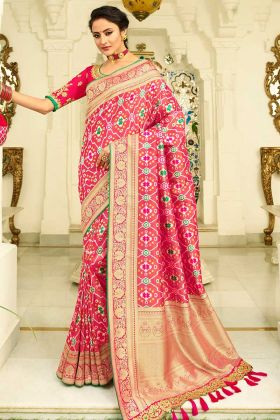 Pink Color Pearl Work Banarasi Silk Festival Saree