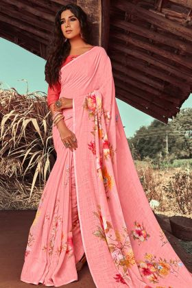 Pink Color Printed Linen Ladies Saree