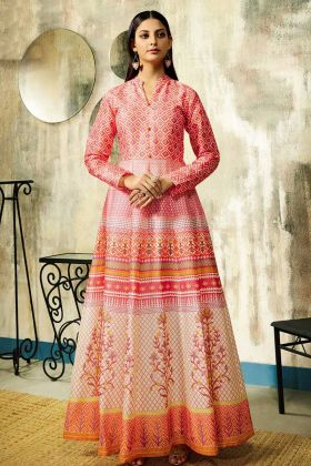 Pink Color Pure Chanderi Wedding Gown With Digital Printed Work