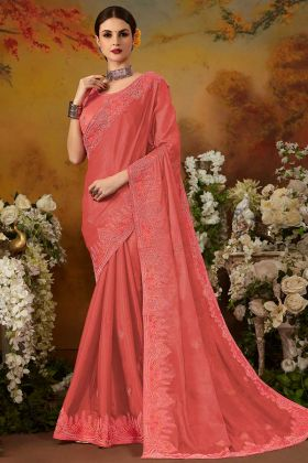 Pink Color Pure Silk Wedding Saree With Zari Embroidery Work