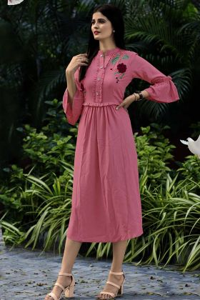 Pink Color Rayon Fancy Kurti With Thread Embroidery Work