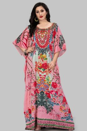 Pink Color Satin Kaftan Pakistani Kurti