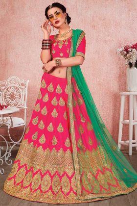 Pink Color Satin Silk Lehenga Choli With Heavy Zari Embroidery Work