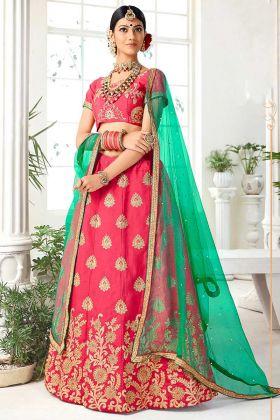 Pink Color Silk Lehenga Choli With Heavy Zari Embroidery Work