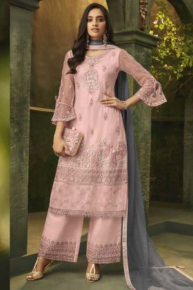 Pink Color Super Net Palazzo Suit In Embroidered Work