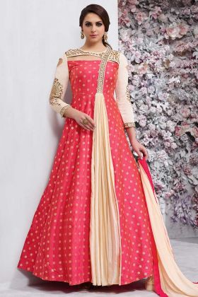 Pink Color Tapeta Silk Anarkali Suit With Heavy Embroidery Work