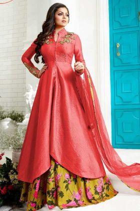 Pink Color Tapeta Silk Indo Western Dress With Embroidery Work