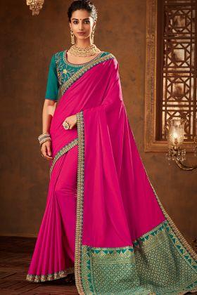 Pink Color Two Tone Silk Saree