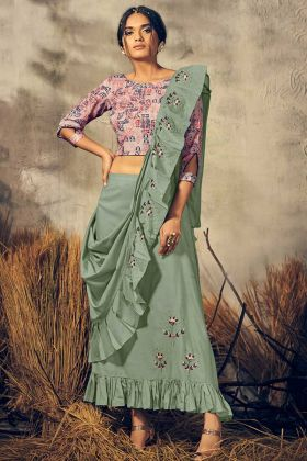 Pink Color Viscose Indo Western Dress In HandWork