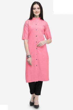 Pink Cotton Long Kurti Buttons Work