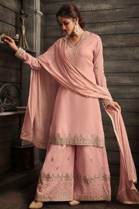 Pink Crepe Designer Palazzo Suit