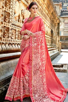 Pink Crepe Silk Party Wear Saree