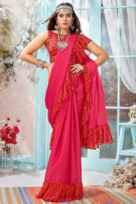 Pink Designer Party Wear Ruffle Saree With Georgette Fabric