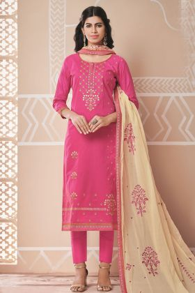 Pink Designer Pure Cotton Dress Material