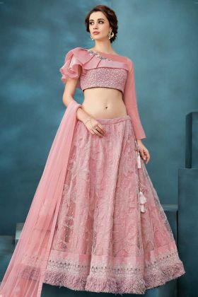 Pink Fancy Net And Fur Wedding Lehenga Choli