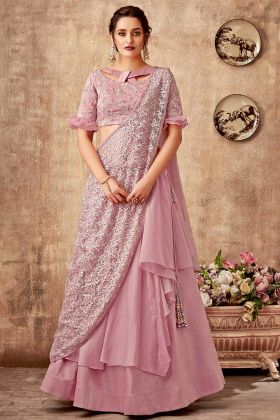 Pink Fancy Velvet And Tissue Wedding Lehenga Saree