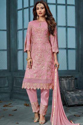 Pink Georgeete Pant Style Salwar Suit