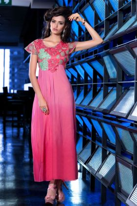 Pink Georgette Kurti Design