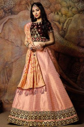 Pink Jacquard Weaved Silk Wedding Lehenga