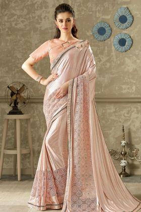 Pink Lycra and Net Fancy Saree Online